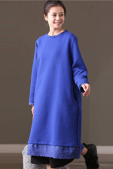 FantasyLinen Loose Long Sleeve Literary Dress, Casual Dress For Winter Q7263B - FantasyLinen