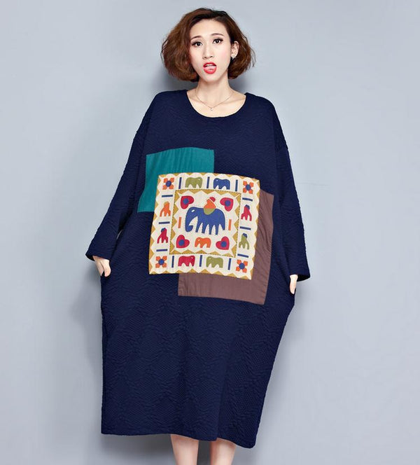 Loose Long Patch Cotton Warm Long Dresses Women Clothes D2001A - FantasyLinen