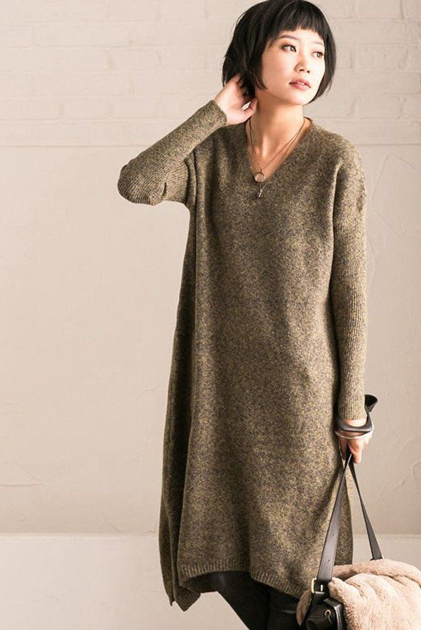 Green Simply V-neck Cotton Loose Sweater Dresses - FantasyLinen