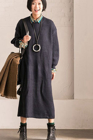 Blue Casual Loose Sweater Dress