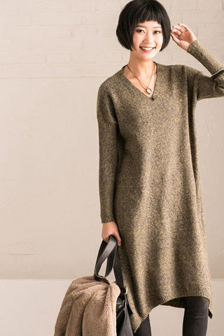 Green Simply V-neck Cotton Loose Sweater Dresses
