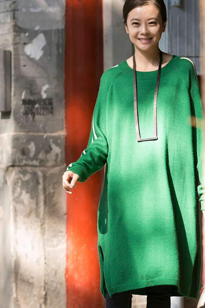 Round Neck White Line Long Sweaters for Women in Green