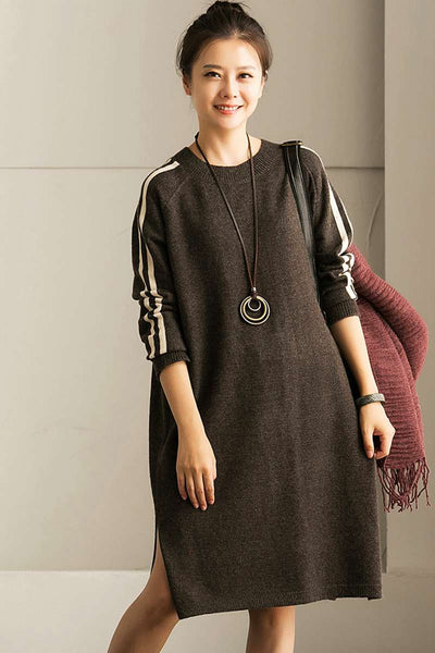 Round Neck White Line Long Sweaters for Women in Gray