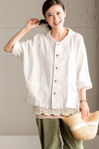 Lovely Sweet Casual Loose Linen Shirt Women Tops W656AG