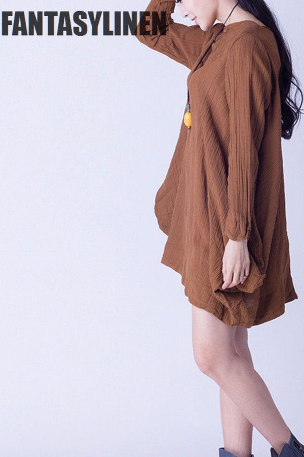 Yellow Linen Casual Loose Shirt  Women Clothes S0802A - FantasyLinen