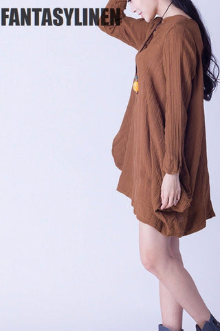 Yellow Linen Casual Loose Shirt  Women Clothes S0802A