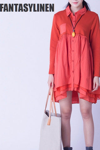 Red A-style Cotton Casual Loose Shirt  Tops Women Clothes C0803A