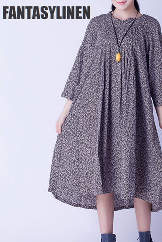Coffee Little Floral Loose Casual Dress Women Tops C0805A