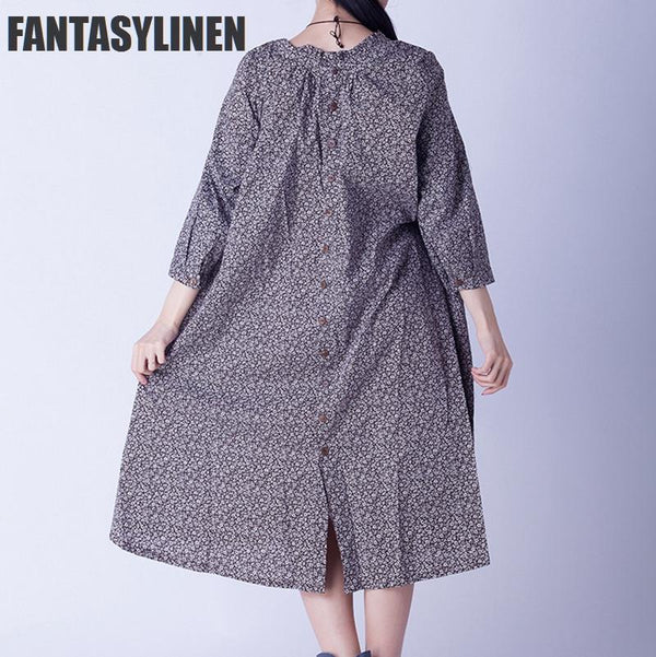 Coffee Little Floral Loose Casual Dress Women Tops C0805A - FantasyLinen