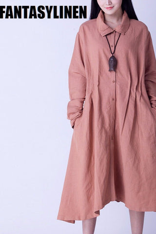 Causel Maxi Size Wind Coat Loose Cotton Linen Long Sleeve Coat Women Clothes W2605A