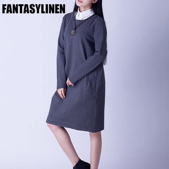 False Two Piece Long Sleeve Fitting Dress Women Clothes Q2607A - FantasyLinen