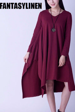 Asymmetrical Casual Loose Long Sleeve Dress Women Clothes Q2801A