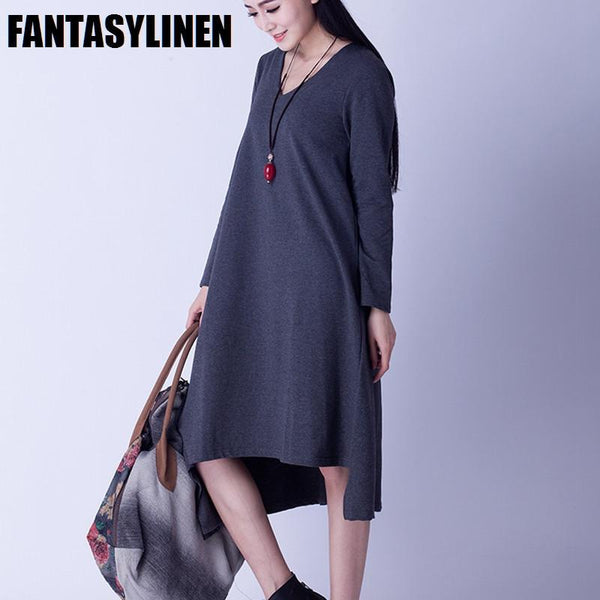Asymmetrical Casual Loose Long Sleeve Dress Women Clothes Q2801A - FantasyLinen
