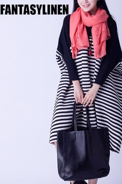 Stripe Casual Loose Warm Sweater Dress Women Clothes Q2802A
