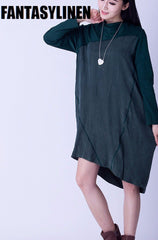 Green and Black Silk Fitting Dresses Women Clothes Q2803A