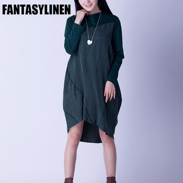 Green and Black Silk Fitting Dresses Women Clothes Q2803A - FantasyLinen