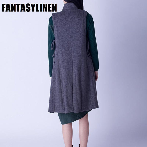 Gray Long Vest Autumn Coat W2801A - FantasyLinen