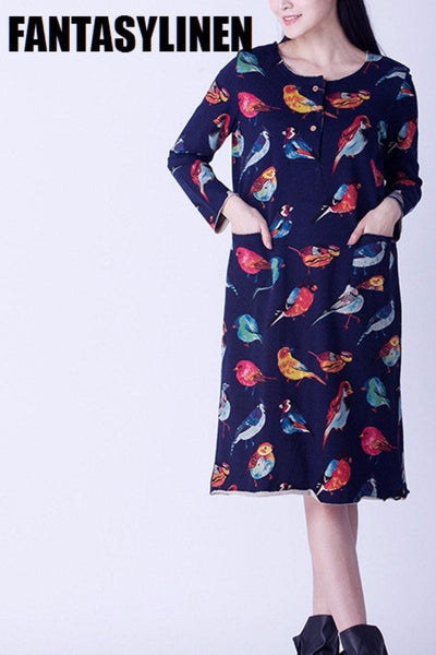 Blue Bird Printing Long Fleece Dress Women Tops F2802A