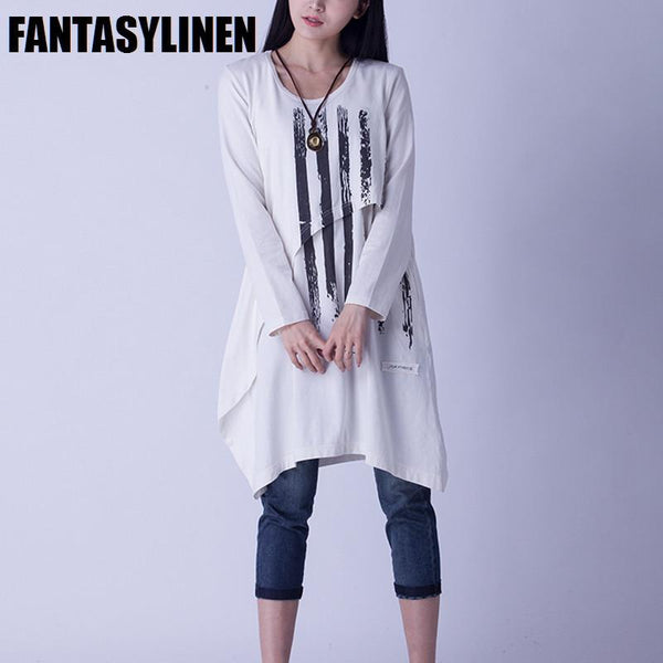 Printing Round Neck Casual Cotton Long Fitting Dresses Shirt Women Clothes Q2810A - FantasyLinen