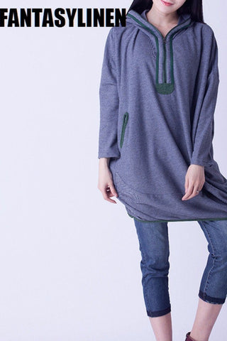 Gray Hood Casual Loose Shirt Women Tops H1201A