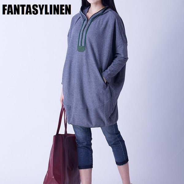 Gray Hood Casual Loose Shirt Women Tops H1201A - FantasyLinen