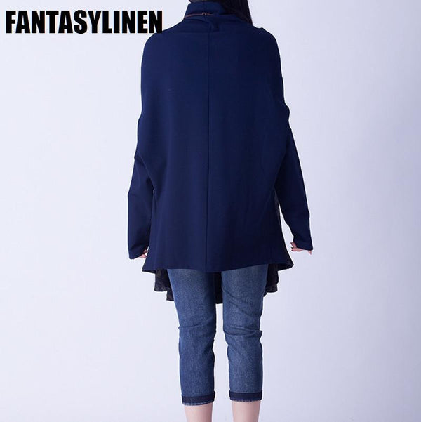 Red And Blue Colors Big Sweep High Collar Loose Dress Women Sweater Tops S1203A - FantasyLinen