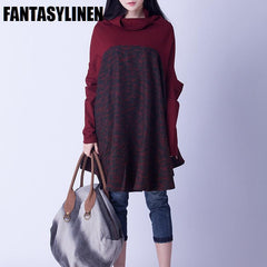 Red And Blue Colors Big Sweep High Collar Loose Dress Women Sweater Tops S1203A
