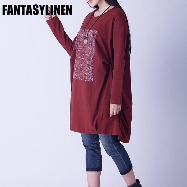 Red Printing Casual Loose Long Sleeve Shirt Dress Women Clothes Q1201A - FantasyLinen