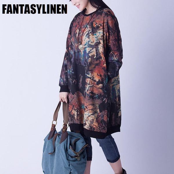 Colorful Fleece Casual Loose Dress Women Tops F1201A - FantasyLinen