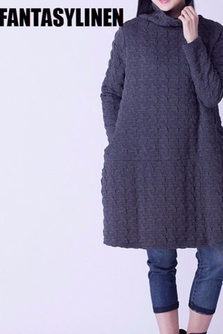 Casual Embossing Fleece Knit High Collar Loose Dress D1202A