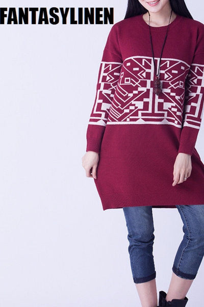 Four Colors Wool Printing Fitting Sweater Women Clothes S1201A