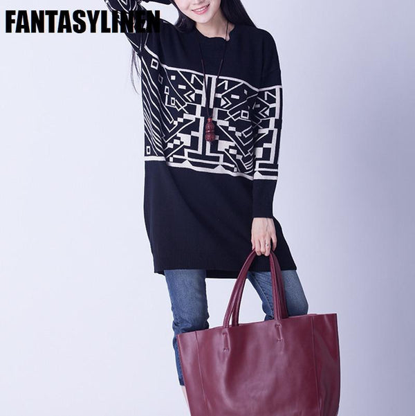 Four Colors Wool Printing Fitting Sweater Women Clothes S1201A - FantasyLinen