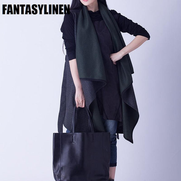Gray Wool Long Vest Autumn Coat V0601A - FantasyLinen