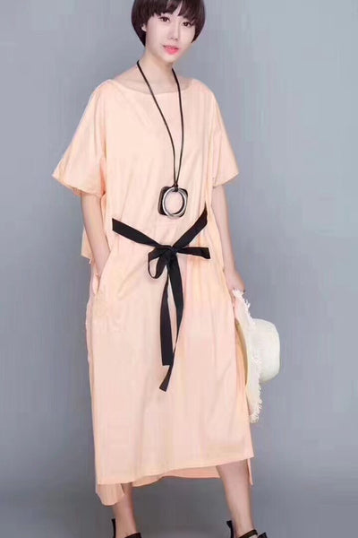 FantasyLinen Irregularity Hem Cotton Casual Loose Fitting Pink Long Dresses 1963