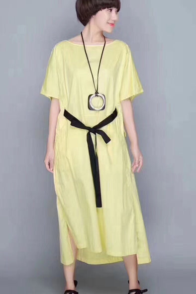 FantasyLinen Irregularity Hem Cotton Casual Loose Fitting Yellow Long Dresses 1963