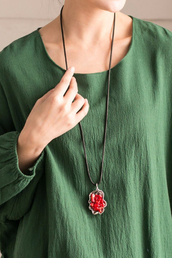 National Wind Alloy Resin Mosaic Red Stone Vintage Necklace Women Accessories E0660A - FantasyLinen