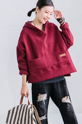 Nine Color Short Fleece Hoodie Bat Sleeve Fashion Tops Women Clothes R228A