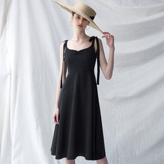 Black Polka Dot Strap Dresses Women Summer Vintage Clothes Q30049