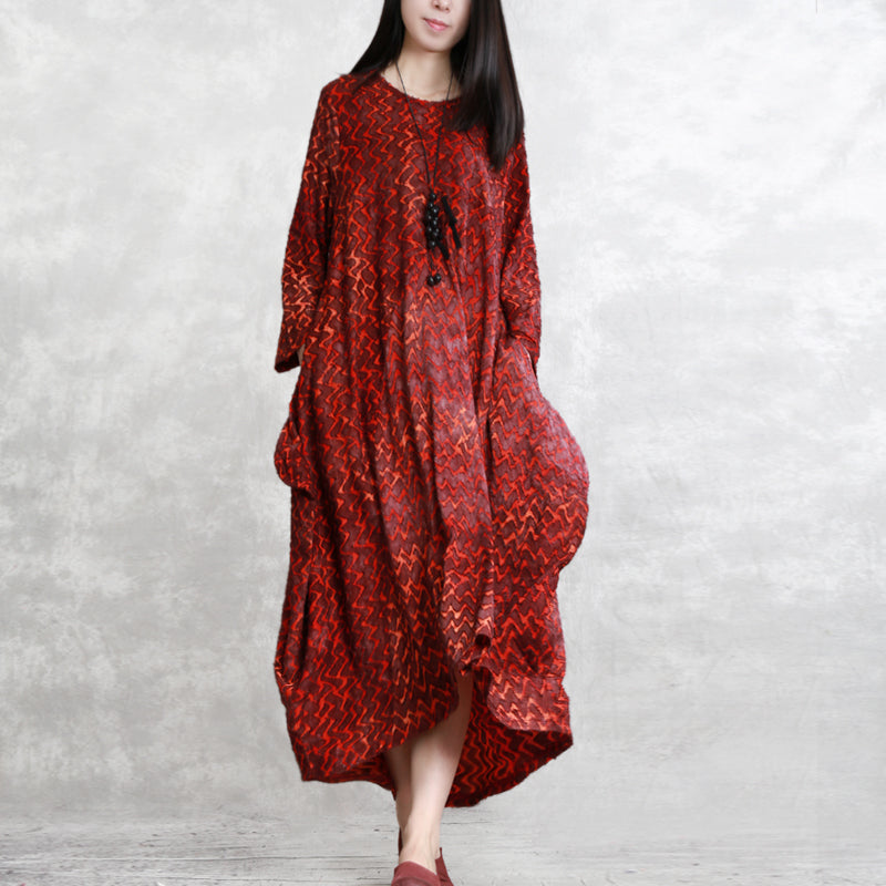 39c1d9e3760 Red Loose Irregular Maxi Dresses Women Casual Spring Clothes Q11036 ...