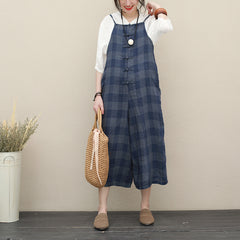 Summer Vintage Linen Overalls Women Loose Plaid Jumpsuit Q2725