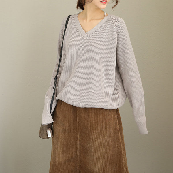 Women Pure Color Loose Sweater Casual Tops Q1986