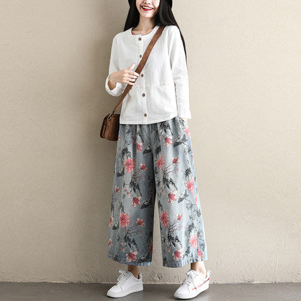 Loose High Waist Cowboy Pants Women Denim Wide-leg Trousers K113