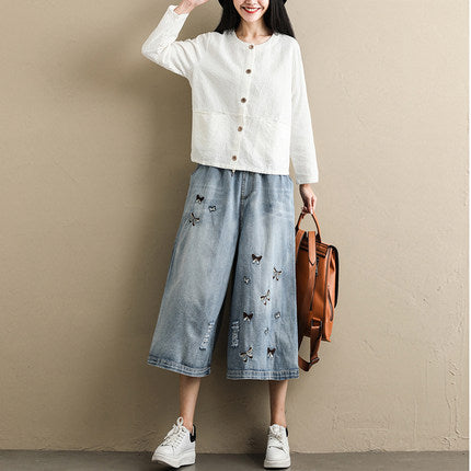 Women Blue Wide-leg Pants Loose Cowboy Trousers K076