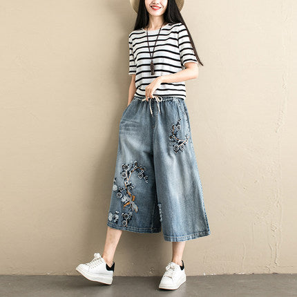 Casual Blue Embroidery Thin Cowboy Pants Women Loose Denim Trousers K070