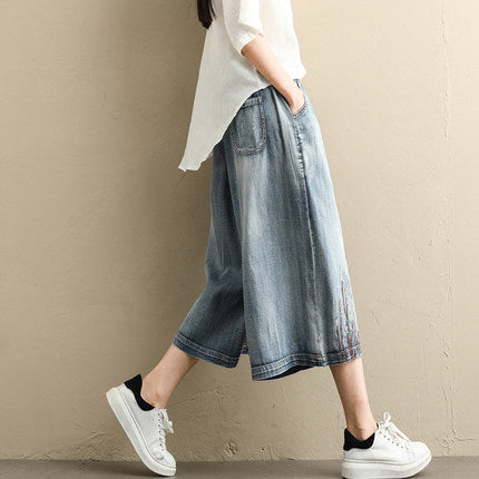 Women Blue Cowboy Wide-leg pants Summer Korea Style Trousers K079