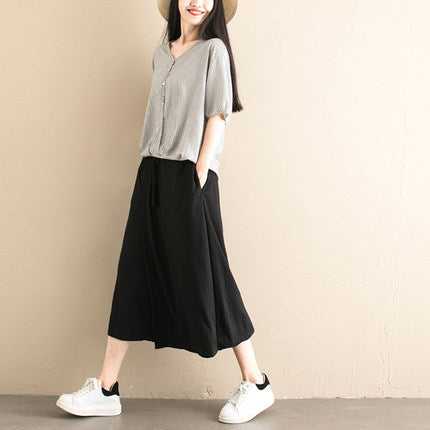 Loose Black Casual Cropped Trousers Women Summer Culotte K071