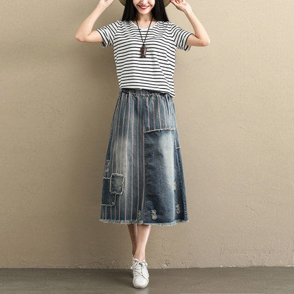 Women Loose Blue Denim Skirt Summer Casual Clothes S096