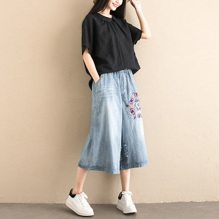 Vintage Embroidery Wide-leg Denim Pants Women Loose Cowboy Trousers K069