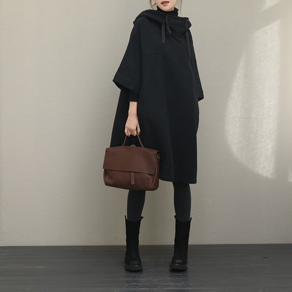 Black Hoodie Loose Cloak Dresses Women Outfits QT363