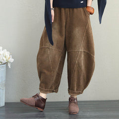Winter Autumn Loose Corduroy Wide Leg Pants Harem Pants Women Thicken Trousers Q1810
